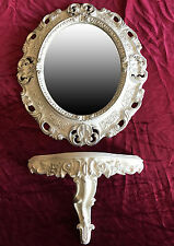 Wall Mirror + Console White Silver Oval Set Bracket Baroque Antique 44x38