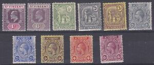 ST.VINCENT 1902-13 DEFINITIVE ISSUES MH