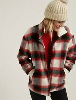 $245!! NEW LUCKY BRAND PLAID WOOL BLEND ZIP JACKET OVERSIZED COAT WOMEN'S L XL