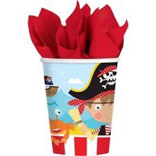 Pack 8 Piratas vasos de Papel 266ml BUCANERO Fiesta Cumpleaños Infantil Vajilla