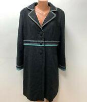 BODEN Gr.UK 20 DE 50 100%WOLLE langer Mantel Grau Blau
