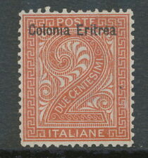 "ITALIAN ERITREA 1893 2 C. maroon w overprint ""Colonia Eritrea"" UNUSED NO GUM"