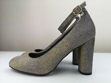 NEW LOOK Ladies Women Designer Silver High Heel Court Shoe Size 6 39