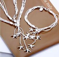 ASAMO Damen Schmuckset Seesterne Halskette Armband Silber plattiert SS1007