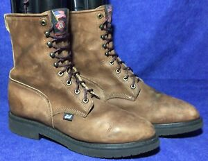 Brown Leather JUSTIN Original Work Boots Sz 13 D #0760 WorkBoot