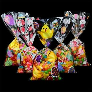 Easter Party Gift Bag 50PCS Bunny Rabbit Eggs Design Candy Cookies Plastic Wrap
