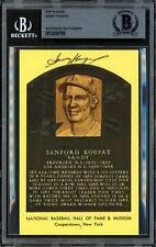 Sandy Koufax Autographed Signed HOF Plaque Postcard Dodgers Beckett 12059793