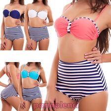 Bikini donna costume da bagno mare righe marinara vita alta culotte nuovo F2958