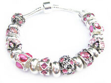 Silver Plated Rose Pink Inspired Crystal Charm Bead European Style Bracelet