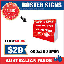 Custom Corflute Roster Signs - Small 600mm x 300mm x 3MM - Ready Signs