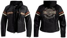 Harley Davidson Women's Miss Enthusiast Leather Jacket 3 in 1 Hood 98142-09VW L
