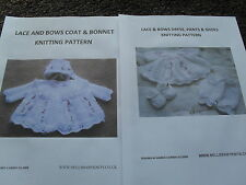 BABY OR REBORN LACE AND BOWS FULL SET KNITTING PATTERN
