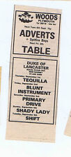 ADVERTS / TABLE / SHADY LADY / SHIFT press clipping 1977  (3/9/77) 9X4cm