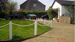 Plastic (UPVC) Post Socket Fix, Driveway & Garden Fencing Posts & Chain (S)