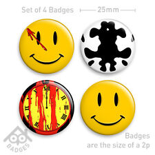 "WATCHMEN Smiley COMEDIAN & Rorschach Comic -1"" Badge x4 Badges NEW - Set 1"