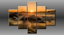 "LARGE SEASCAPE BEACH ROCK SUNSET WAVE CANVAS WALL PICTURE ART 40"" 28"" 0327/5"