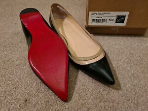 Louboutin Black Patent Flats Ballerina Shoes 40.5 7.5 With Box