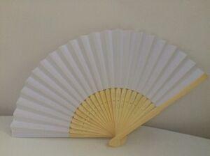 10pcs Blank White Chinese Folding Bamboo Fan Retro Hand Paper Fans Wedding Favor