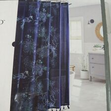 Threshold Fabric Shower Curtain Navy Blue Floral 100% Cotton NEW Open Package