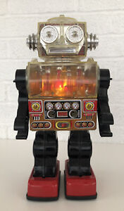 Vintage Piston Robot Attacking Martian Battery Operated Action Space Toy Works
