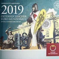 Österreich 1 Cent bis 2 Euro 2019 KMS Kursmünzensatz handgehoben im Folder