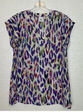 Cabi feather print blouse M short sleeve EUC