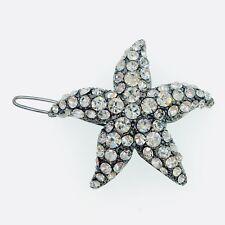 Starfish Hair Clip use Swarovski Crystal Hairpin Seastar Mermaid Gun Black Clear