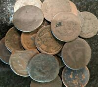 (1) large cent problem coin flatten, cleaned, clipped