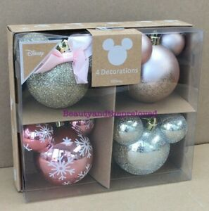Disney Mickey Minnie Mouse Christmas Tree Decoration Baubles Primark 1 Box of 4