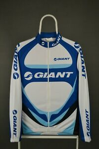 Mens Giant Cycling Jersey Long Sleeve Full Zip Blue White Bicycle Size L Large
