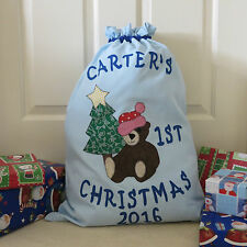 PERSONALISED BABY'S FIRST CHRISTMAS/SANTA SACK - Choose Your Colour -