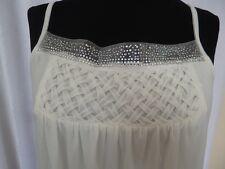 Camiseta sin mangas con estampado de lentejuelas (Blanco) (Tamaño 12) (precio Rebajado)