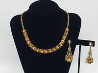 VINTAGE GOLDEN TOPAZ COLORED RHINESTONE GOLD TONE NECKLACE CLIP ON EARRING SET