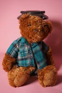 "FAO Schwarz Brown Teddy Bear Plush Green Plaid Shorts Shirt 16"""