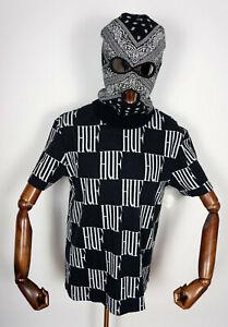 Huf Worldwide Skateboard T-Shirt Tee Shirt Knit Big Checked Black in M