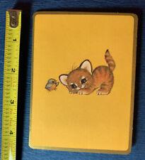 Vintage 1970s Hallmark Greeting Card Ruth Morehead Art Flocked Tiger Cat Tales