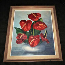 """Hawaii VINTAGE SIGNED PAINTING ANTHURIUMS Louise Crain Framed 22 1/2"""" x 26"""""""