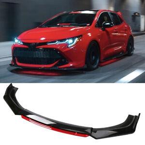 For 01-21 Toyota Corolla Hatchback Front Bumper Lip Splitter Spoiler Black + Red
