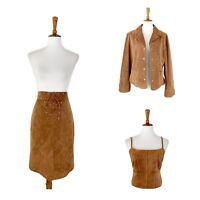 Maxima Wilson's Women's Vintage Skirt Crop Top Jacket Set Size 12 Suede Leather