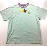 Teddy Fresh X Spongbob 2020 Men's Seafoam T-Shirt with Purple Collar Large NWT!!