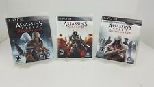 3 PS3 Game Lot - Assassin's Creed II, Brotherhood, Revelations Complete Mint CDs