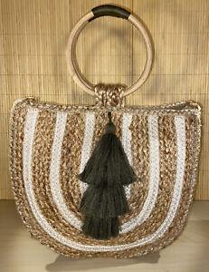 Rattan Straw Shoulder Bag Woven Round Handbag Round handles with Green Tassels