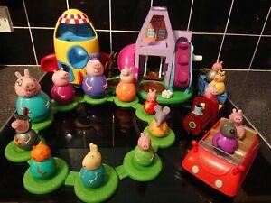 PEPPA PIG Weebles Grandmas House Train Rocket Car 15 Figures playset Bundle Toys