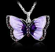 Women Fashion Jewelry Enamel Butterfly Crystal Silver Pendant Necklace Chain HS