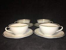 BAVARIA CREIDLITZ Set Of 4 White Cups/Saucers Cream with Gold Band