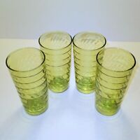 "Vintage Anchor Hocking Green Glass Ribbed Tumbler Drinking Glasses 5.5"" Set of 4"