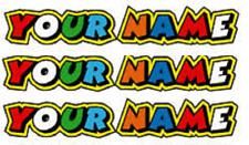 3 Personalised Name Stickers Doc Rossi Motorbike Helmet Vinyl Decals Bike Helmet