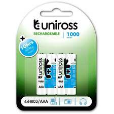 4 x Uniross AAA HR03 Rechargeable Batteries 1000mAh NiMh Pre-Charged Ready to Go