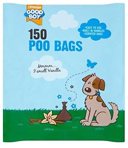 Armitage Good Boy Dog Poo Poop Waste Bags 150pk Vanilla Scented with Tie Handles