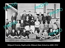 LARGE OLD HISTORIC PHOTO OF MITTYACK VICTORIA, PUPILS AT THE STATE SCHOOL 1934